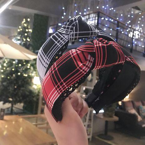 Striped plaid lace headband NHRH157890's discount tags