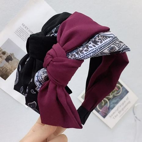 Simple contrast color oversized bow headband NHRH157891's discount tags