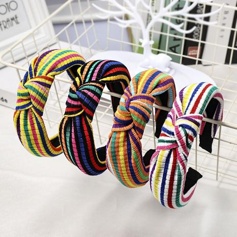 New striped color matching knotted headband NHDM157901's discount tags