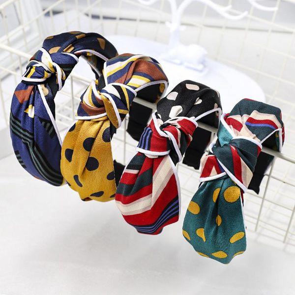New polka dot check color matching headband NHDM157903