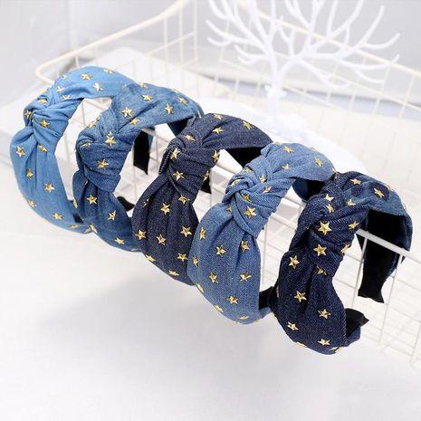 Denim hot drilling stars knotted headband NHDM157904's discount tags