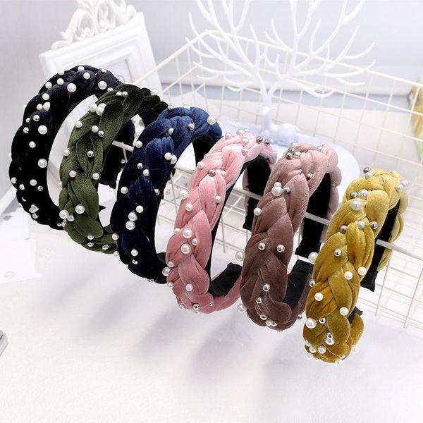 New solid color twist fashion pearl headband NHDM157907