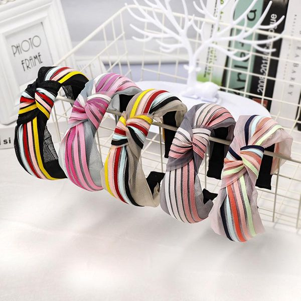 Sweet rainbow stripes knotted mesh headband NHDM157908