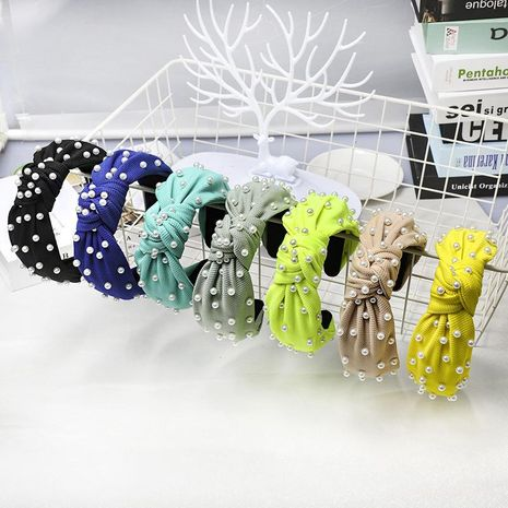Nail pearl knotted solid color sweet fabric headband NHDM157912's discount tags
