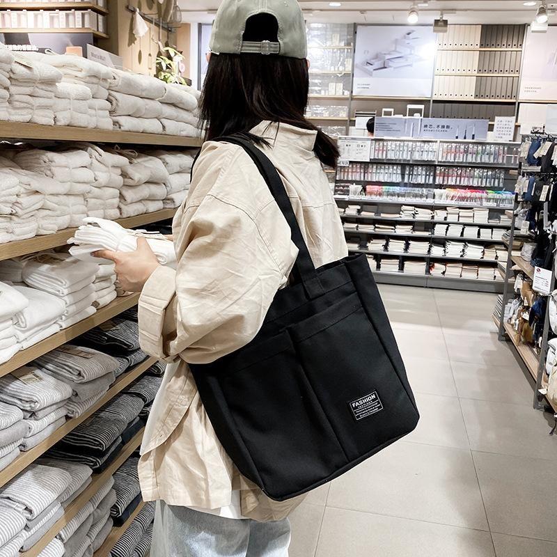 Japanese vintage student versatile canvas large capacity messenger bag NHHX158020