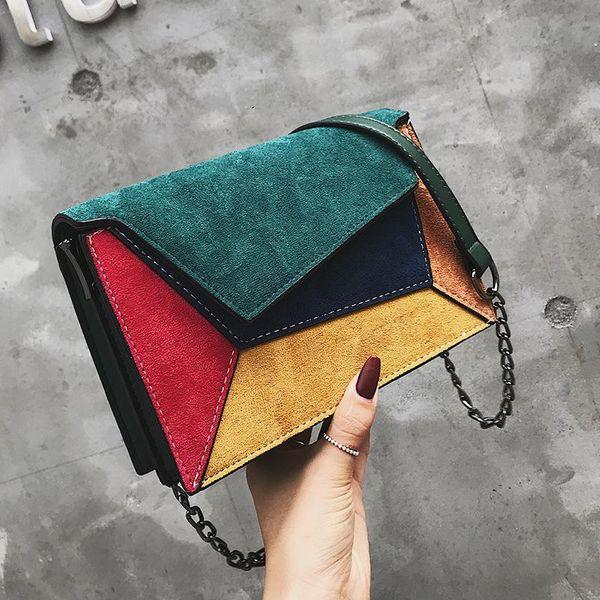 Korean version of the diagonal sanding chain single shoulder color square package NHLD158033