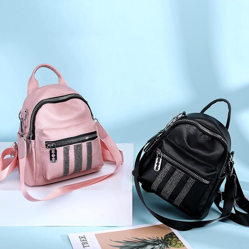 Solid color campus solid color one shoulder pu soft leather backpack NHLD158094