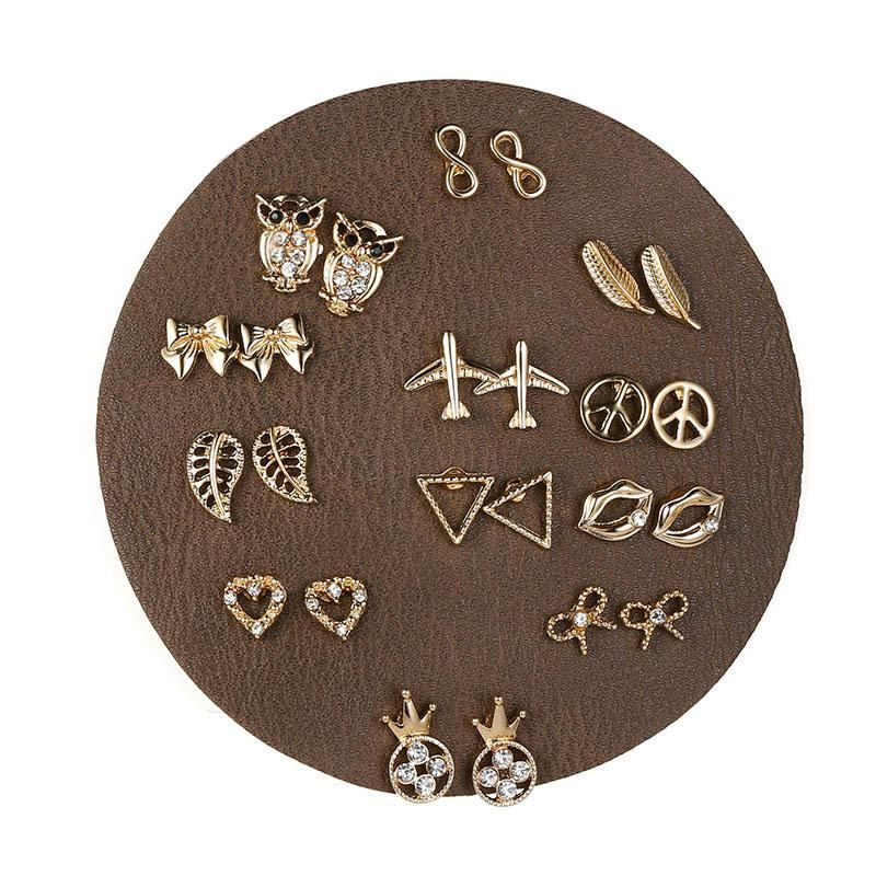 European and American owl bow artificial gemstone set earrings NHSD158105