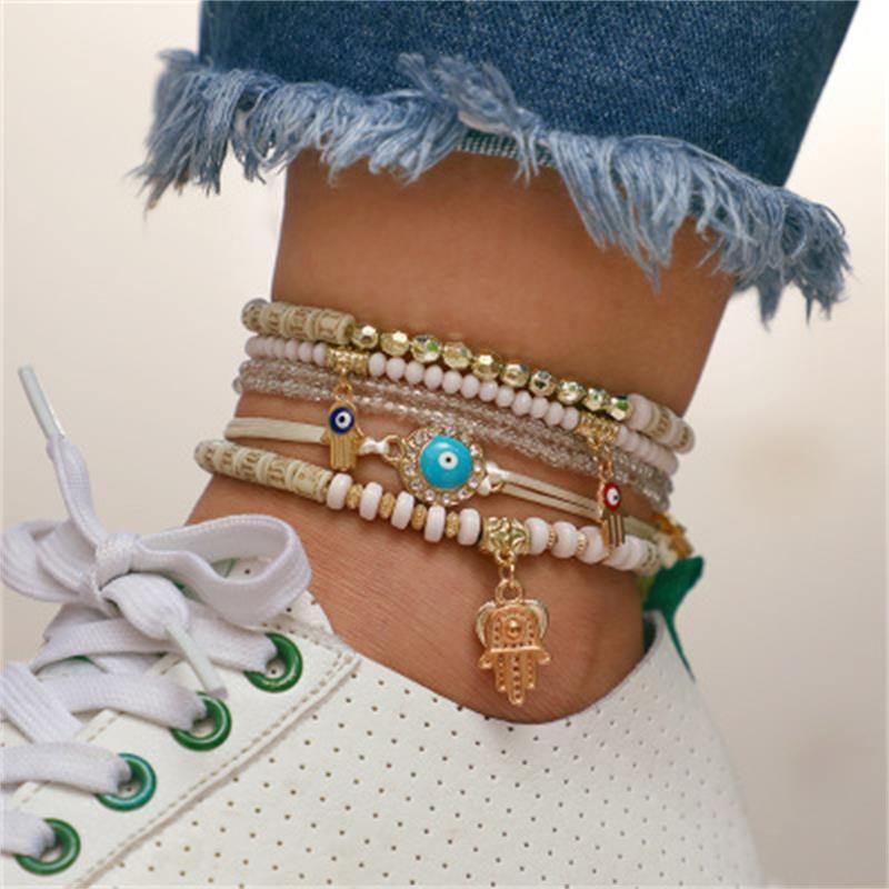 Fashion Eye Palm Love Beaded Bracelet Set of 6 NHKQ158109