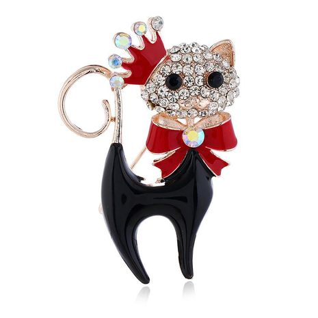 Chinese style three-dimensional drip oil cat rhinestone brooch NHKQ158141's discount tags