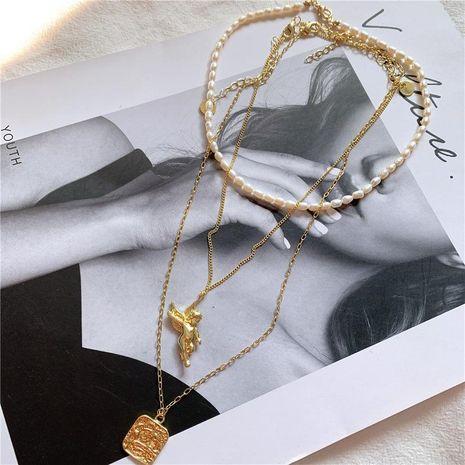 Collar de cadena de clavícula de perla fresca de tres piezas de moda NHYQ158172's discount tags