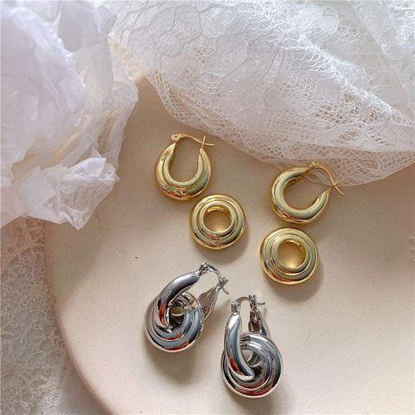 Aretes de aleación de doble anillo para mujer Aretes NHYQ158184's discount tags
