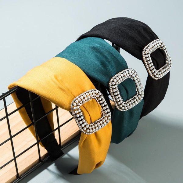 Aleación cuadrada de tela de color sólido de moda con diadema de diamantes de imitación de perlas NHLN158222