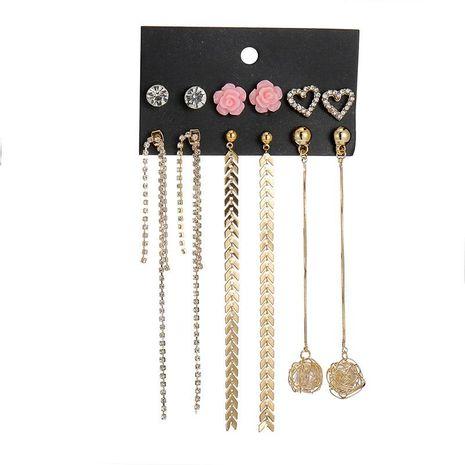 6 pares de pendientes de perlas con borlas de cadena larga NHSD158231's discount tags