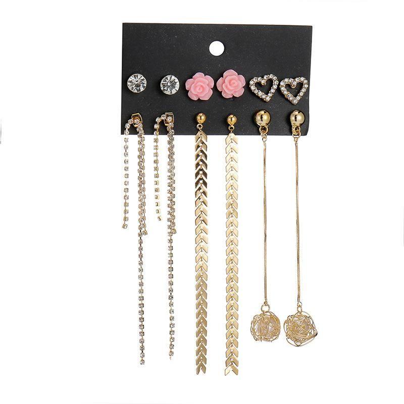 6 pairs of long chain tassel pearl earrings NHSD158231