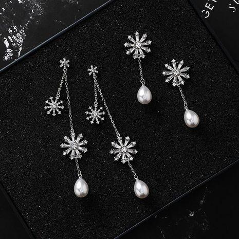 Fashion Faux Gemstone Drop Pearl Snowflake Earrings NHMS158232's discount tags