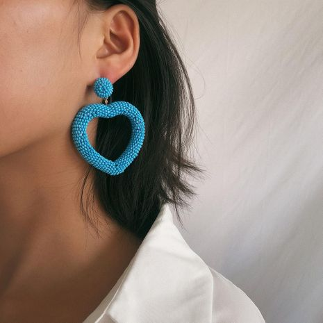 Creative heart-shaped cold wind rice beads earrings NHXR158243's discount tags