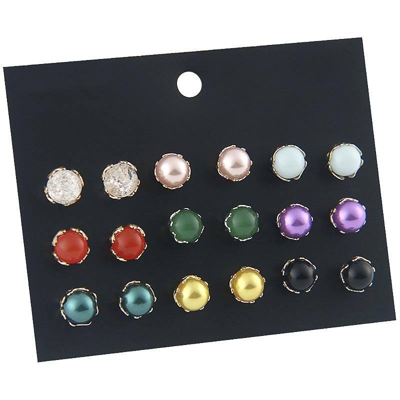 Europe and America colorful pearl combination alloy earrings set NHSD158248
