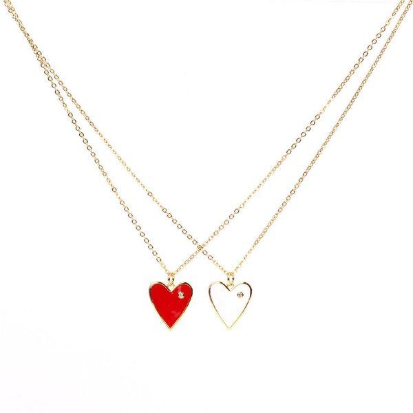 Fashion artificial gemstone solid color drop oil heart necklace NHPY158250