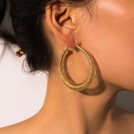 Womens Geometry Electroplated Metal Earrings NHXR158262's discount tags