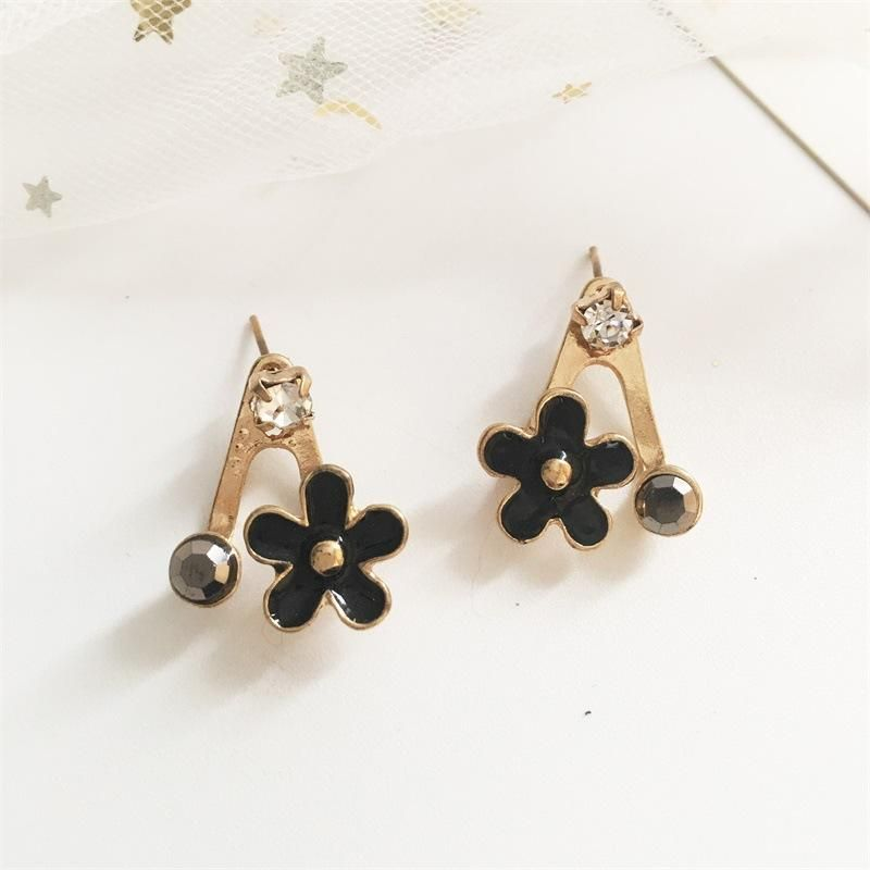 Korean version of the artificial gem drop oil five-leaf flower earrings NHDP158267