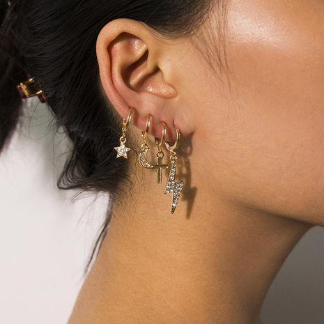 Temperament long imitation pearl geometric star earrings NHXR158287's discount tags