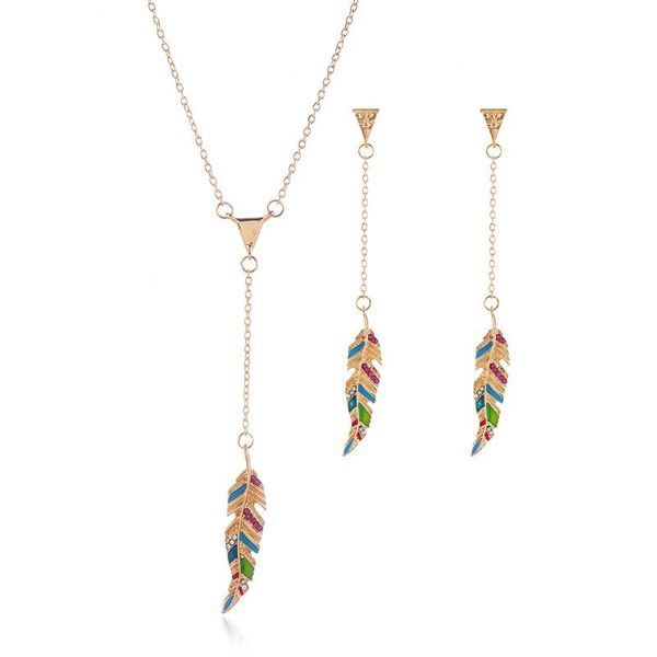 Korean version of the artificial gemstone necklace earrings set NHKQ158301