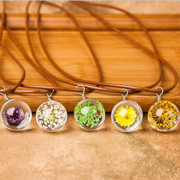 Time Gemstone Transparent Crystal Ball Plant Specimen Necklace NHDP158305