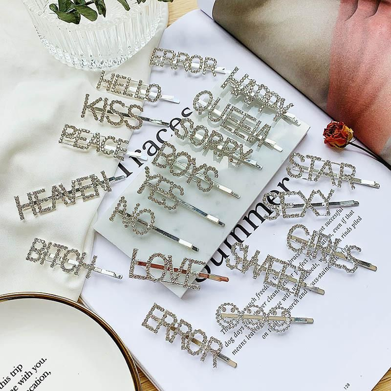 Korean temperament rhinestone letter hair accessories NHSD158307