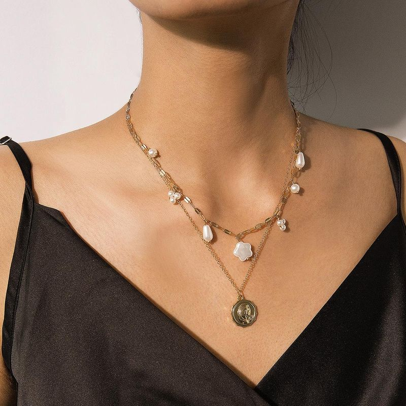 Vintage embossed temperament imitation pearl multi-layer necklace NHXR158314