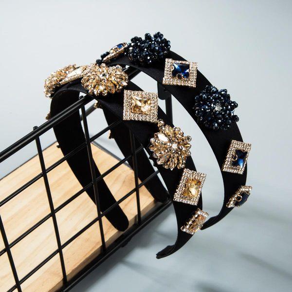 European and American bohemian handmade beaded crystal wide-brimmed headband NHLN158324