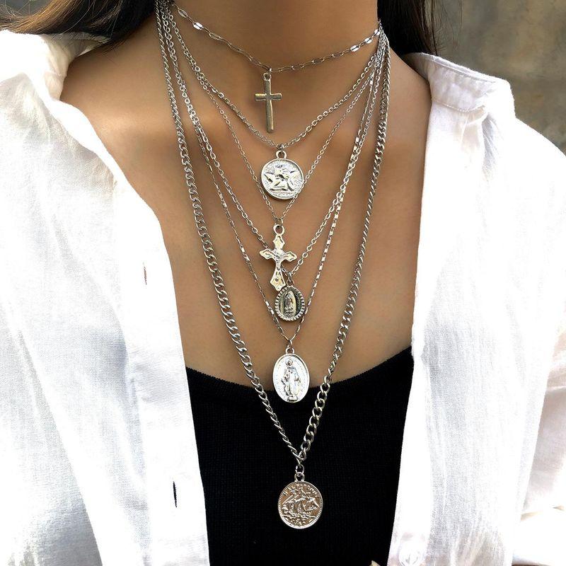 Vintage multi-layer long cross portrait necklace NHXR158325