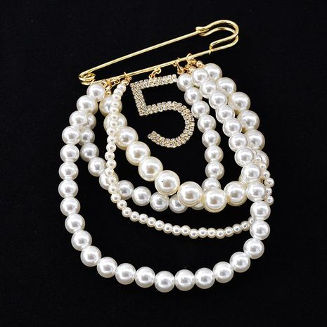 Korean pearl tassel flash drill alloy brooch NHNT158332's discount tags