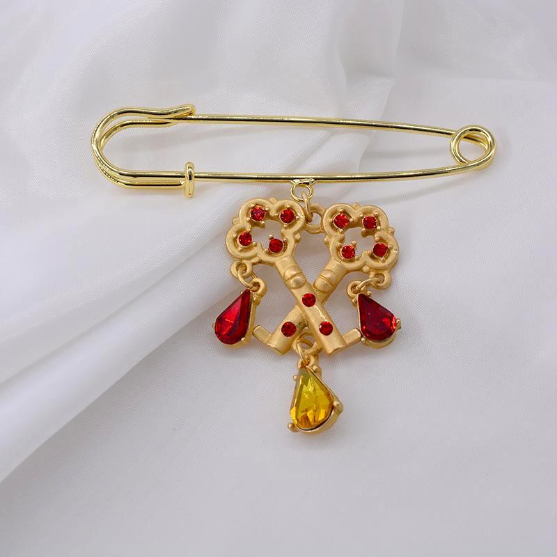 Fashion vintage geometric lock key alloy brooch NHNT158340