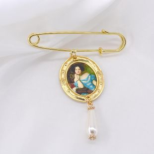 Creative photo frame oil painting jacket cardigan silk brooch NHNT158341's discount tags