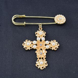 Fashion simple cross pearl alloy brooch NHNT158346's discount tags