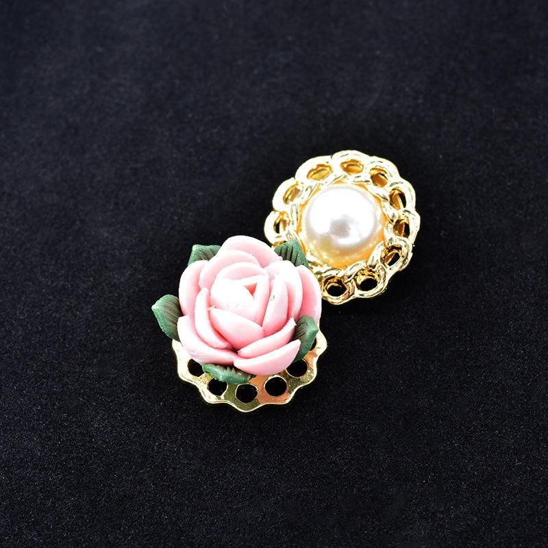 Court Vintage Baroque Exaggerated Ceramic Flower Pearl Brooch NHNT158350