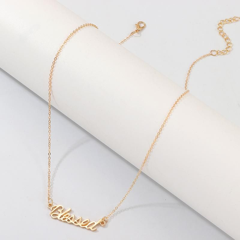 Stylish and simple English alphabet alloy necklace NHNZ158351