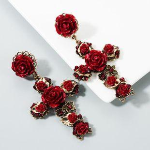 Fashion Rosie Flower Cross Earrings NHLN158352's discount tags