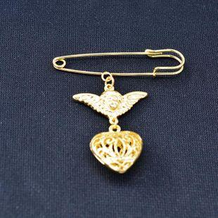Fashion peach heart angel three-dimensional alloy brooch NHNT158354's discount tags