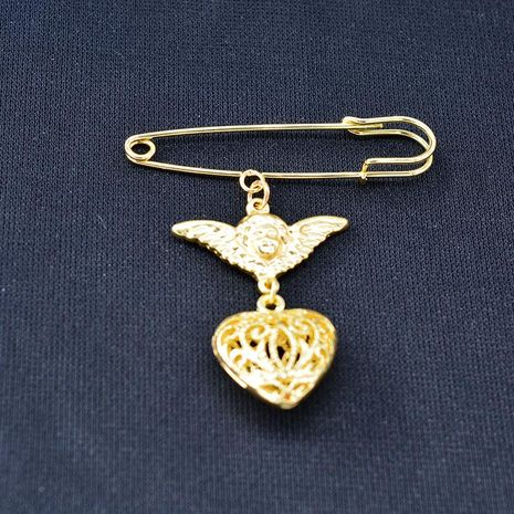 Fashion peach heart angel three-dimensional alloy brooch NHNT158354's discount tags
