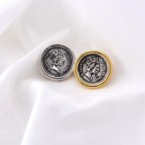 European and American old-fashioned portrait coin gold alloy brooch NHNT158355's discount tags