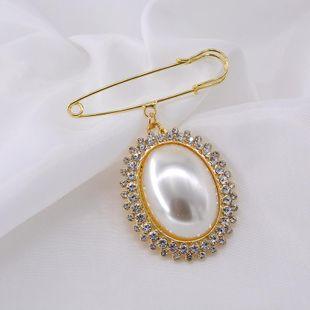 Fashion Pearl Rhinestone Bauhinia Ring Alloy Brooch NHNT158358's discount tags