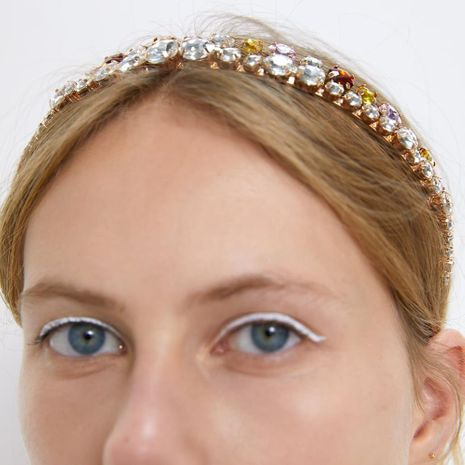 Fashion show man-made gemstone alloy headband NHMD158361's discount tags