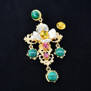 Korean tassel green diamond cross alloy brooch NHNT158365's discount tags
