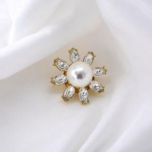 Stylish white three-dimensional daisy crystal flower brooch NHNT158366's discount tags