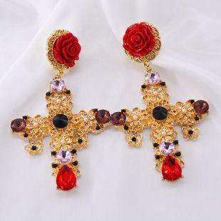 Retro Royal Palace Hollow Rose Red Alloy Earrings NHNT158368's discount tags