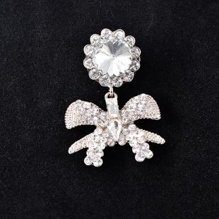 Retro exaggerated fashion rhinestone bow brooch NHNT158371's discount tags