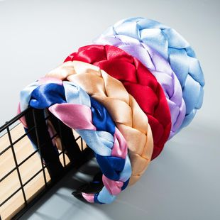 Fashion twisted fabric satin headband NHLN158370's discount tags