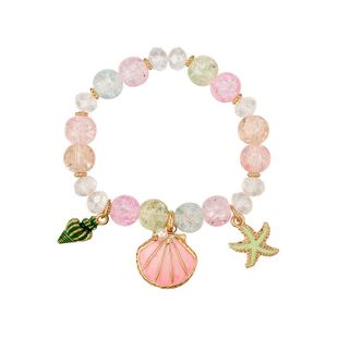 Fashion girl heart pink scallop alloy beaded bracelet NHXS158376's discount tags